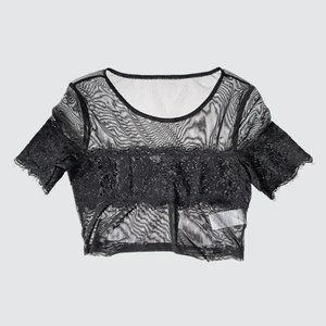 Urban Outfitters Lace Crop Top - Black